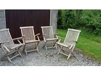 4 teak garden chairs
