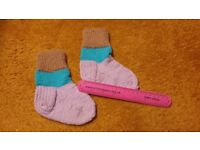 New Home hand made knitted Boy 2-3 years wool blend winter socks colourful