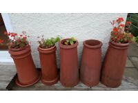 5 tall terracotta Victorian chimney pots