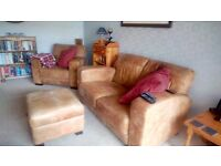 Disressed leather sofa,chair and footstool/storage box.