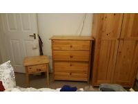 Lightweight pine wardrobe, drawers & bedside table set