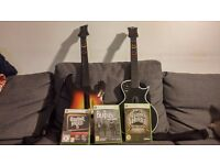 2 Guitar Hero guitar controllers and 3 games for Xbox 360 - Like new