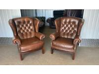 Stunning pair of leather chesterfield wing back chairs £750