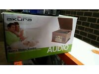 Brand New Boxed Akura Retro Music Centre Antique Wood Turntable CD Cassette Radio