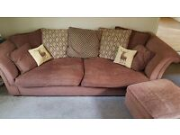 DFS 4 seaters fabric sofa and 2 matching stools
