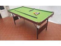 Pool or snooker table with folding legs for easy storage