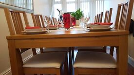 NEW IKEA dining table + chairs rrp £600 BÖRJE/BJURSTA birch wood - Extendable from 4 to 10 people!
