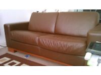 3 seater brown itailian leather sofabed + two seater sofa + pouffe.