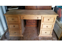 Solid South African pine double pedestal dressing table.
