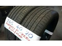 MATCHING PAIR 245 40 20 PIRELLI P-ZERO 7-8MM TREAD £100 PAIR sup & fitd loads more txt