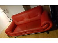 Red Two Seater Sofa In Excellent Condition