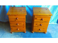 Two Pine Bedside Cabinets With Three Drawers Exc. Condition ( NOT MDF or Chipboard) Solid Pine