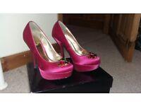 Bejewelled pink satin platform shoes,size 5