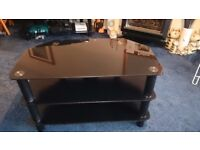 Black Glass TV Stand. Reduced to clear