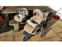 Three wheeler pushchair and interlocking babycarrier/car seat set with accessories
