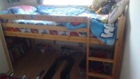 Mid-Sleeper Wooden single bed base with ladder.