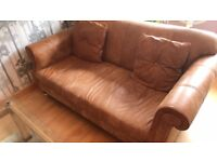 Sofas 4 and 3 Seater Natural Ranch Leather