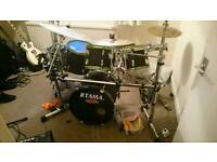 5 piece drum kit with 6 symbols. Double kick pedal and rack for sale