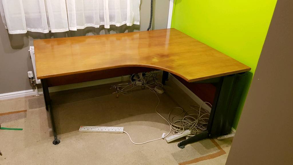 office desk and shelf unit