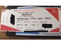 2 x Coldplay tickets - Wednesday 12th July 2017 - Cardiff (Stadiwm Principality) - AMAZING SEATS