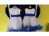 Royal blue and ivory flower girl dresses