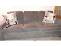 Grey 3 seater , chair & footstool