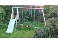 Childrens swing and slide frame