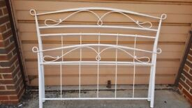 King size white metal bed frame with mattress
