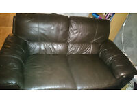 DFS leather sofa brown