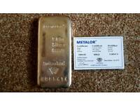 4x METALOR 1Kg Silver Bullion Bar with Certificate of Authenticity