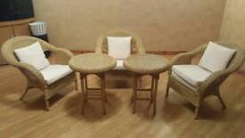 SET OF 3 CHAIRS AND TWO GLASS TOPPED TABLES.