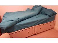 Double divan bed with 4 drawers + mattress + duvet + pillows