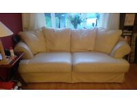 3 seater Cream Leather Sofa x 2 - £200 (ONO)