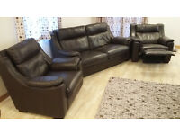 Leather three piece suite with powerchair