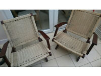 Set of two folding hardwood Garden or Conservatory chairs
