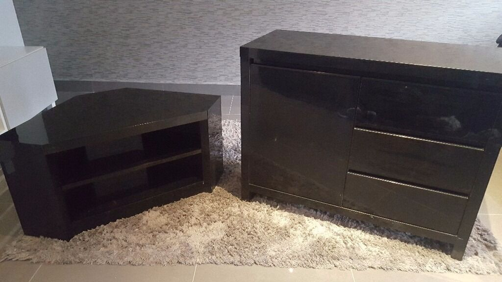Black Gloss corner TV unit and sideboard