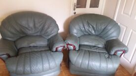 Green Leather recliver charis plus 3 seater sofa
