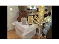 Beautiful decorative white twig wedding tree with electric lights.
