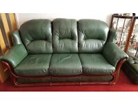Leather 3 piece suite with footstool/storage box