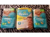 3 brand new packs of pampers size 2