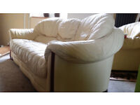 Leather creamy white sofa