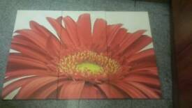 large flower 3 piece frame