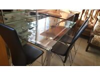 Glass Dinning Table with 3 chairs - Good Condition