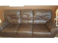Brown Leather 2&3 Seater Reclining Sofas