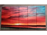 5 canvas prints that make up single picture of sunset