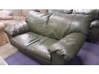 Two and Three Seater Set of Green Leather Sofas in Great Condition