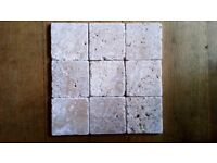 "Travertine ""Noce"" tiles unfilled & tumbled. 10 x10 x 1 cm"