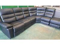 Black real leather 6 piece reclining corner sofa