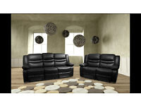 SOHO 3 AND 2 SEATER LEATHER RECLINER SOFA