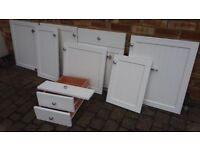7 VERY GOOD USABLE WHITE HINGED KITCHEN DOORS & 2 DRAWERS & ONE FALSE DOOR FRONT.